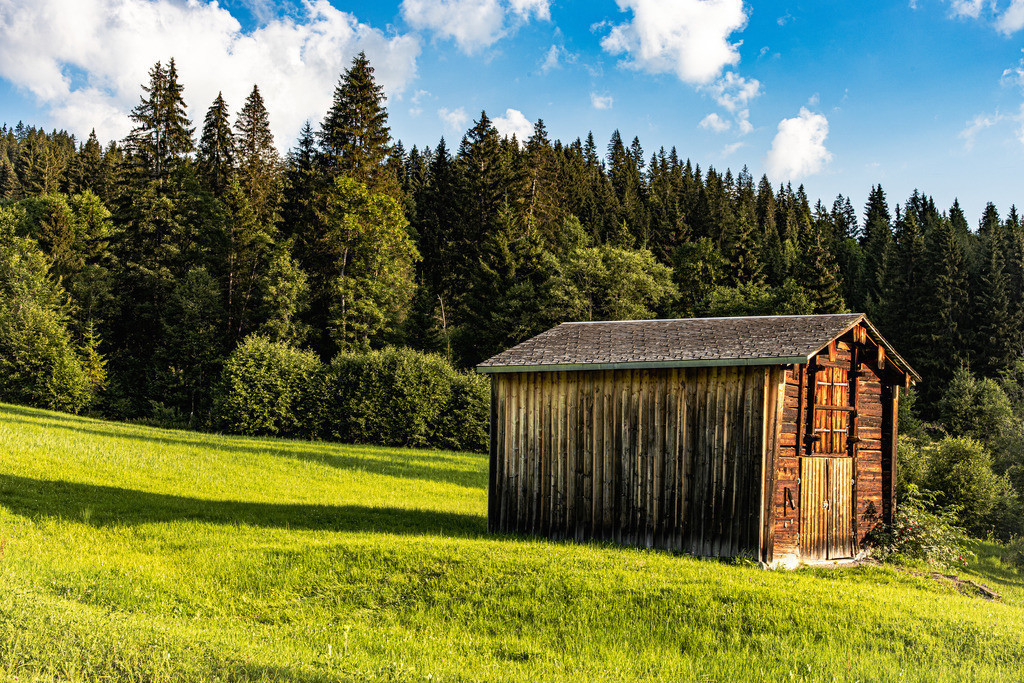A small mountain hut | Strong summer colors wrap this scene in a warm light.