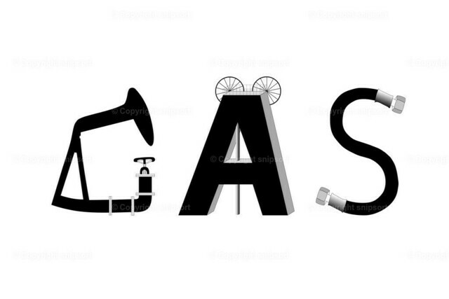 Gas (Illustration) | Eine Zeichnung aus Symbolen aus Gasfördertechnik, die das Wort