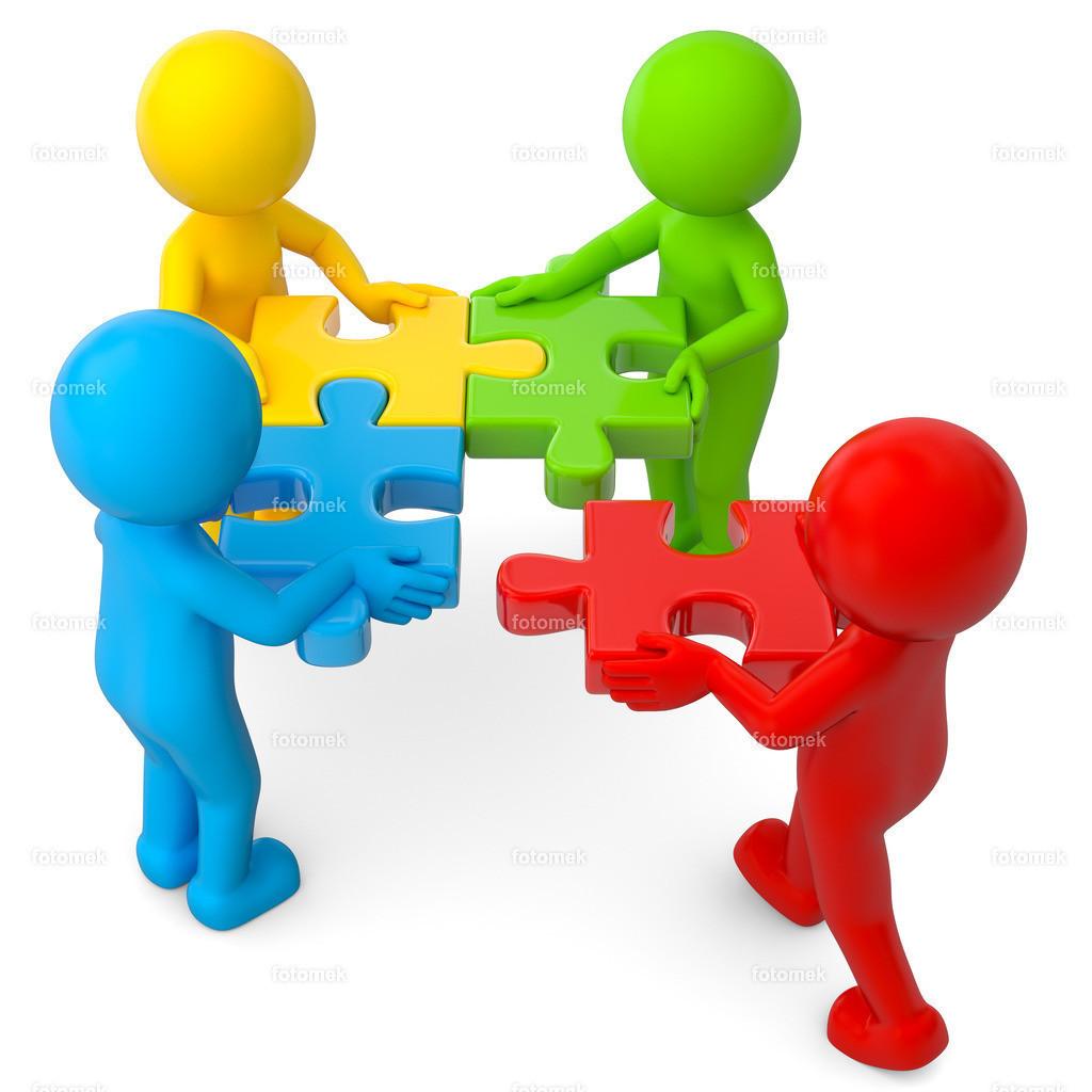 bunte 3d Männchen Zusammenarbeit Puzzle
