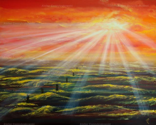 Im Abendlicht geborgen C | Phantastischer Realismus aus dem Atelier Conny Krakowski. Verkäuflich als Poster, Leinwanddruck und vieles mehr.