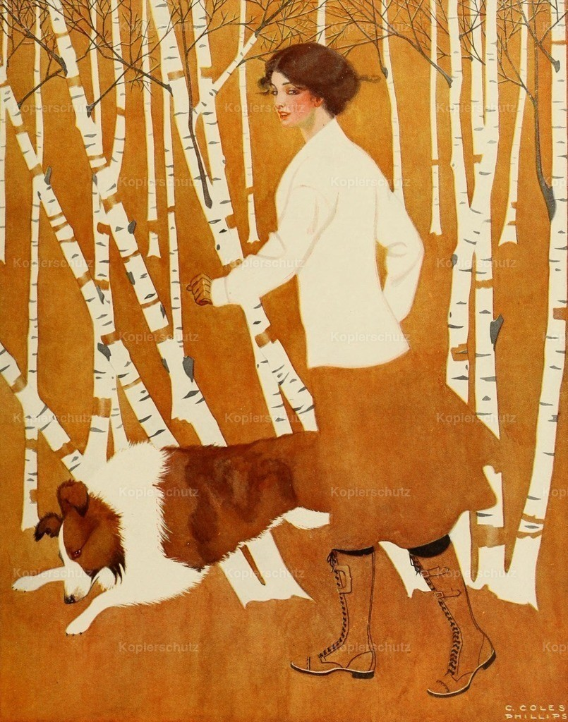 Phillips_ Clarence Coles (1880-1927) - A Gallery of Girls 1911 - Birches