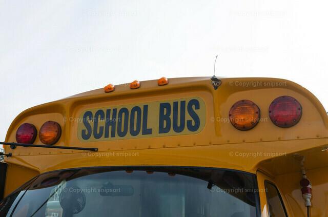 Amerikanischer gelber Schulbus   Detail von einem gelben Schulbuss.