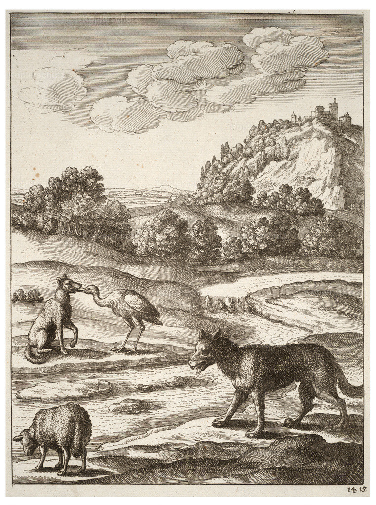 Wenceslas_Hollar_-_The_wolf__the_lamb__and_the_crane