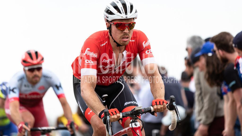 Mons-en-Pévèle, France - April 8, 2018: Paris-Roubaix UCI men elite road racing event   Mons-en-Pévèle, France - April 8, 2018: Paris-Roubaix UCI men elite road racing event, John Degenkolb, Photo: videomundum