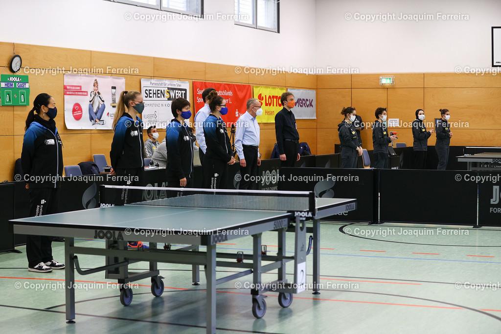 201219_tsvvsboe_0137 | despor 19.12.2020 Tischtennis Damen 1.BL TSV Langstadt - SV Böblingen emspor, emonline, oespor,  v.l., Yanhua Yang-Xu (SV Böblingen Tischtennis Damen 1.Bundesliga), Annett Kaufmann (SV Böblingen Tischtennis Damen 1.Bundesliga), Mitsuki Yoshida (SV Böblingen Tischtennis Damen 1.Bundesliga), Alexandra Kaufmann (SV Böblingen Tischtennis Damen 1.Bundesliga), Franziska Schreiner (TSV Langstadt Tischtennis Damen 1.Bundesliga),Tanja Krämer (TSV Langstadt Tischtennis Damen 1.Bundesliga), Dina Meshref (TSV Langstadt Tischtennis Damen 1.Bundesliga) und Petrissa Solja (TSV Langstadt Tischtennis Damen 1.Bundesliga)  Foto: Joaquim Ferreira