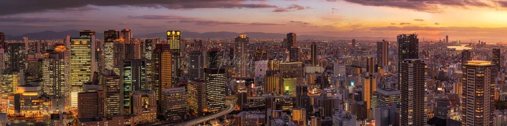 Osaka am Abend (Panorama)