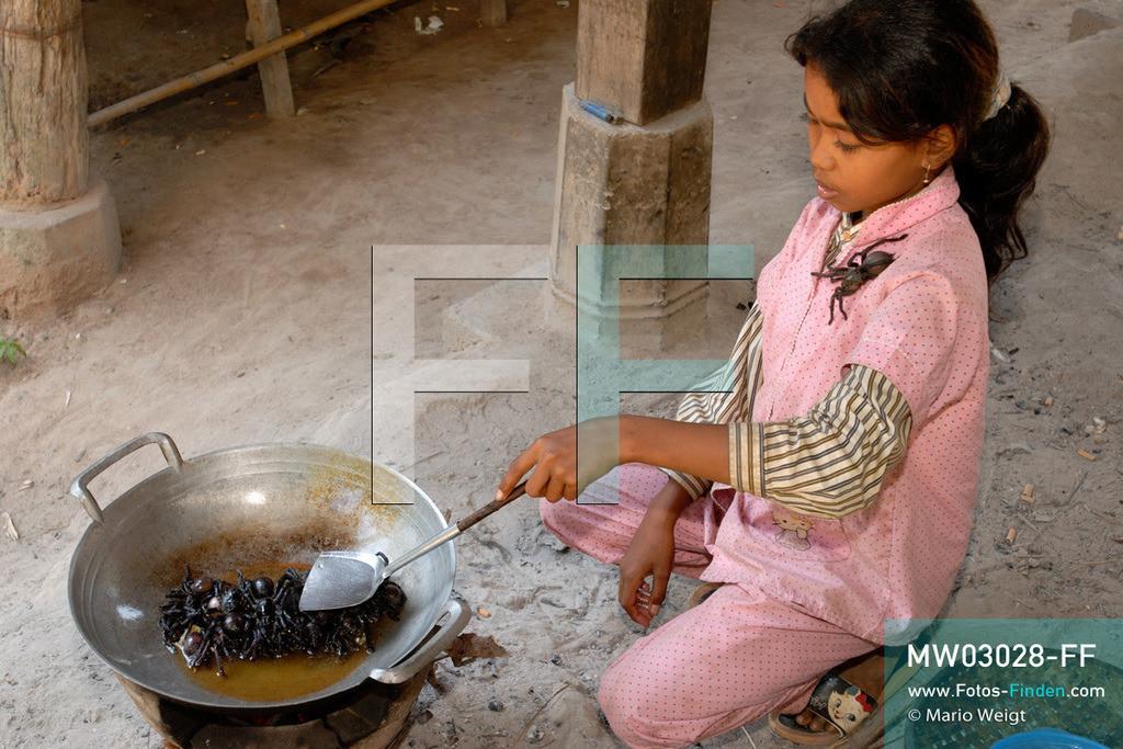 MW03028-FF | Kambodscha | Provinz Kampong Cham | Skoun | Reportage: Phektra verkauft Vogelspinnen | Phektra bei der Zubereitung der Vogelspinnen. Im Wok brutzeln die Tiere. Die 12-jährige Phektra lebt im Dorf Skoun, das für seine schwarzen frittierten Vogelspinnen bekannt ist. Phektra fängt und sammelt die Spinnen im Wald und verkauft die frittierten Achtbeiner an der Bushaltestelle.   ** Feindaten bitte anfragen bei Mario Weigt Photography, info@asia-stories.com **