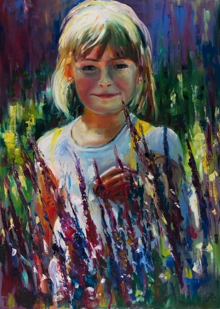 Mädchen im Lavendelfeld | Originalformat: 60x80cm  -  Produktionsjahr: 2009