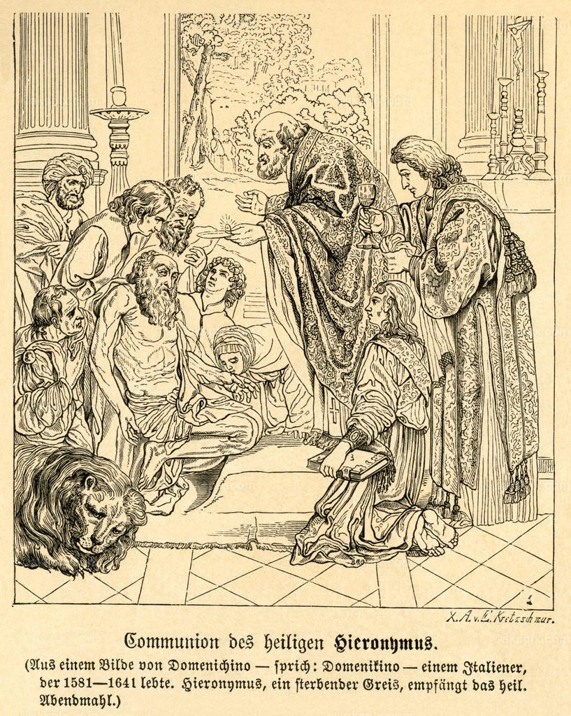 Hieronymus / Jerome | Asien,  Palästinensisches Autonomiegebiet, Bethlehem, der Theologe Hieronymus empfängt das heilige Abendmahl, nach Domenichino , Motiv aus :