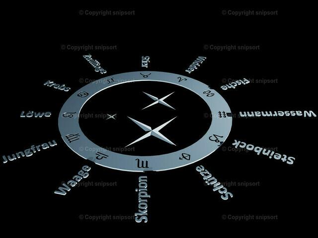 Tierkreiszeichen (3D Rendering) | Der Zodiak mit den zwölf Tierkreiszeichen