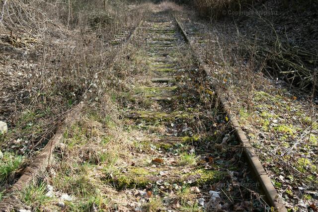 Stillgelegte Gleise | Alte, mit Gras zugewachsene Bahngleise