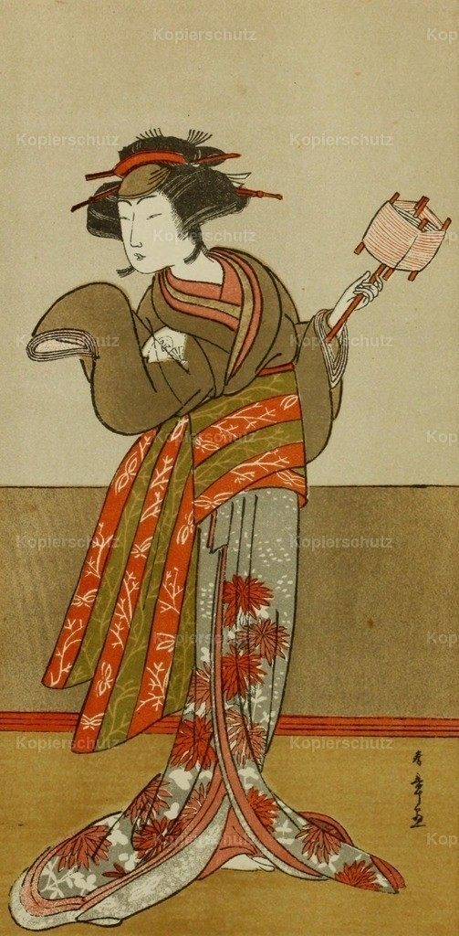 Shunso_ Katsukawa (1729-1792) - Japanese Illustration 1904 - Actor playing the female part in _Udamaki_