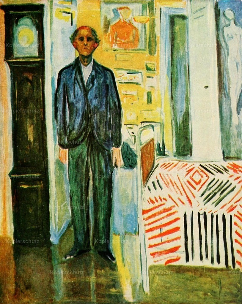 Munch_ Edvard (1863-1944) - Between clock and bed_ self portrait 1940-42