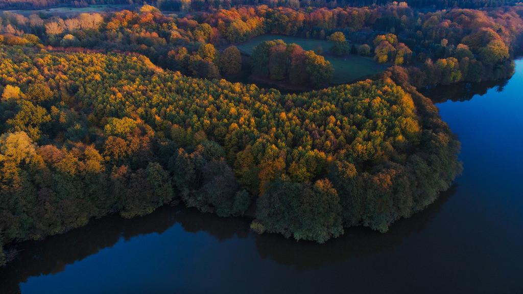 Lütjensee im Indian Summer | Luftaufnahme vom Lütjensee in Stormarn