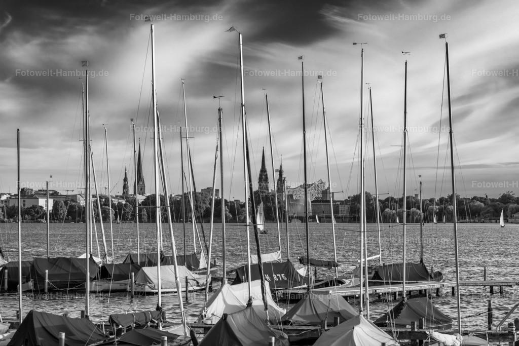 10210407 - Segelboote an der Aussenalster | Sommerlicher Abend an der Aussenalster, besonders eindrucksvoll in schwarzweiß festgehalten.