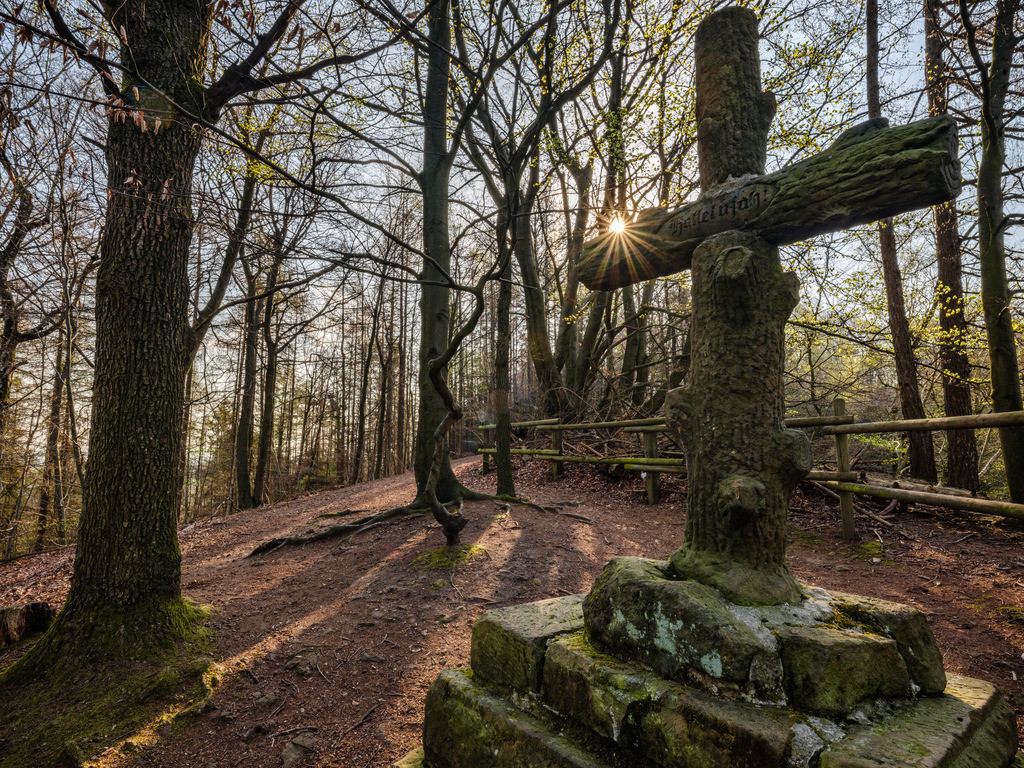 Kreuz am Halleluja-Steinbruch | Kreuz oberhalb des Halleluja-Steinbruchs im Teutoburger Wald in Bielefeld-Gadderbaum.