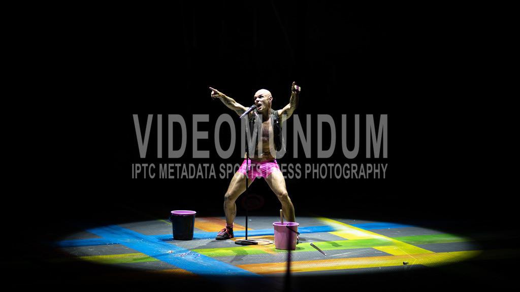 Düsseldorf, Germany  - April 24, 2019: PUNXXX by Circus Flic Flac   Düsseldorf, Germany - April 24, 2019: Performing acrobats on stage at PUNXXX show by Circus Flic Flac