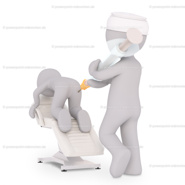 the doctor gives the patient an injection in the butt   Quelle: https://3dman.eu   Jetzt 250 Bilder kostenlos sichern