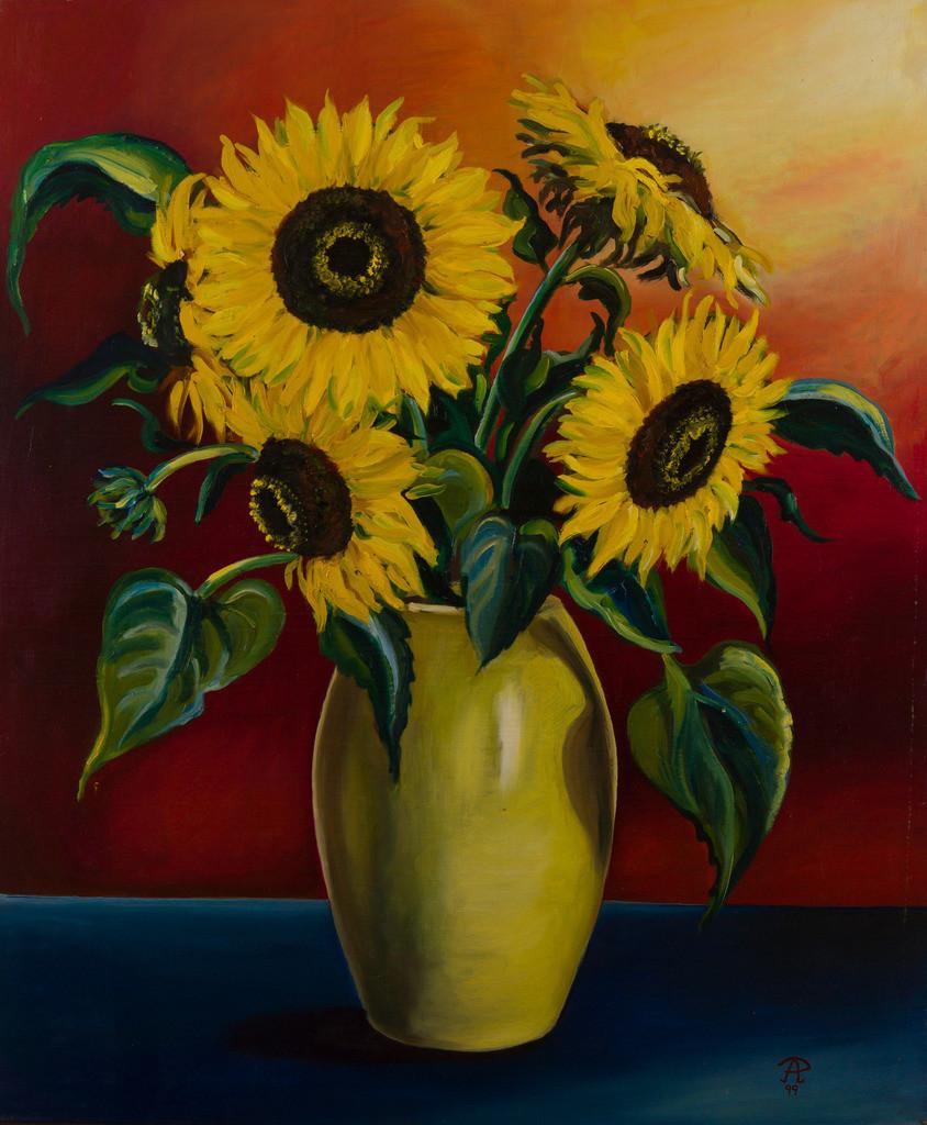 Sonnenblumen in gelber Vase | Originalformat: 90x70cm  -  Produktionsjahr: 1999
