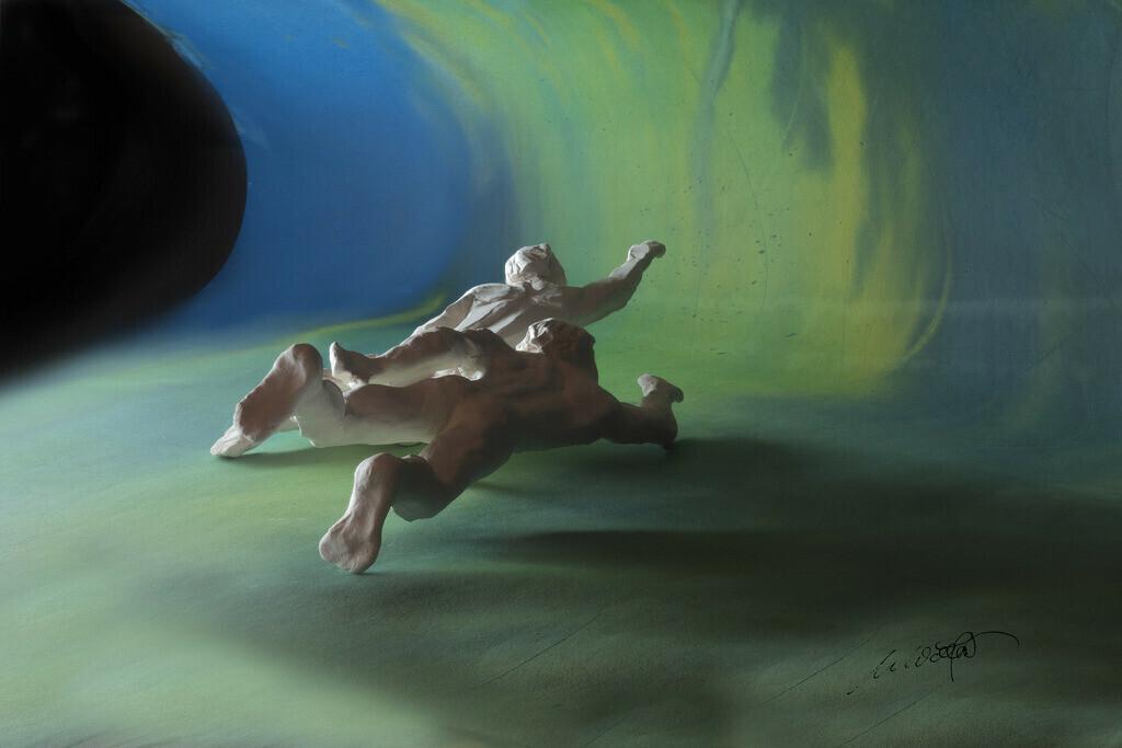 Adam und Adam, die Reise schwimmen | Adam und Adam, schwimmend oder fliegend? ist es Wasser, Welle oder Himmel? Wer ist erster  und wer zweiter? auf der Reise durch das Leben, und am Ziel?