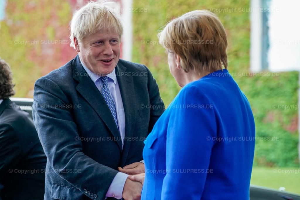 Boris Johnson in Berlin   21.08.2019, der Premierminister des Vereinigten Königreichs, Boris Johnson von der Conservative and Unionist Party zu Besuch im Kanzleramt in Berlin. Der britische Politiker war gekommen, um mit der Kanzlerin über den Brexit zu verhandeln. Empfang durch die Bundeskanzlerin Angela Merkel.