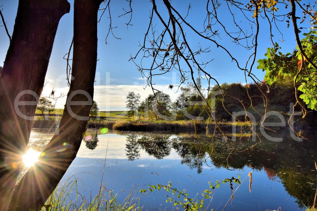 Holzmaar, Sonnen Spiegelung auf dem Wasser | fotografiert am Holzmaar in der Vulkaneifel