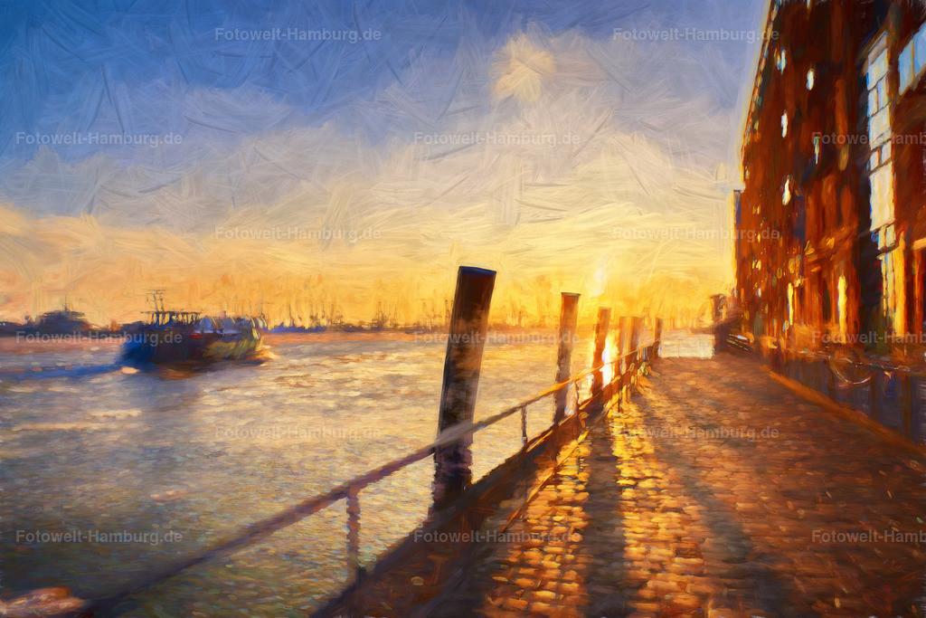 10190706 - Sonnenuntergang am Hafen | Unsere digitalen Hamburg Gemälde wirken wie Kunstdrucke echter Gemälde. Für die beste Bildwirkung empfehlen wir den Druck auf Leinwand.