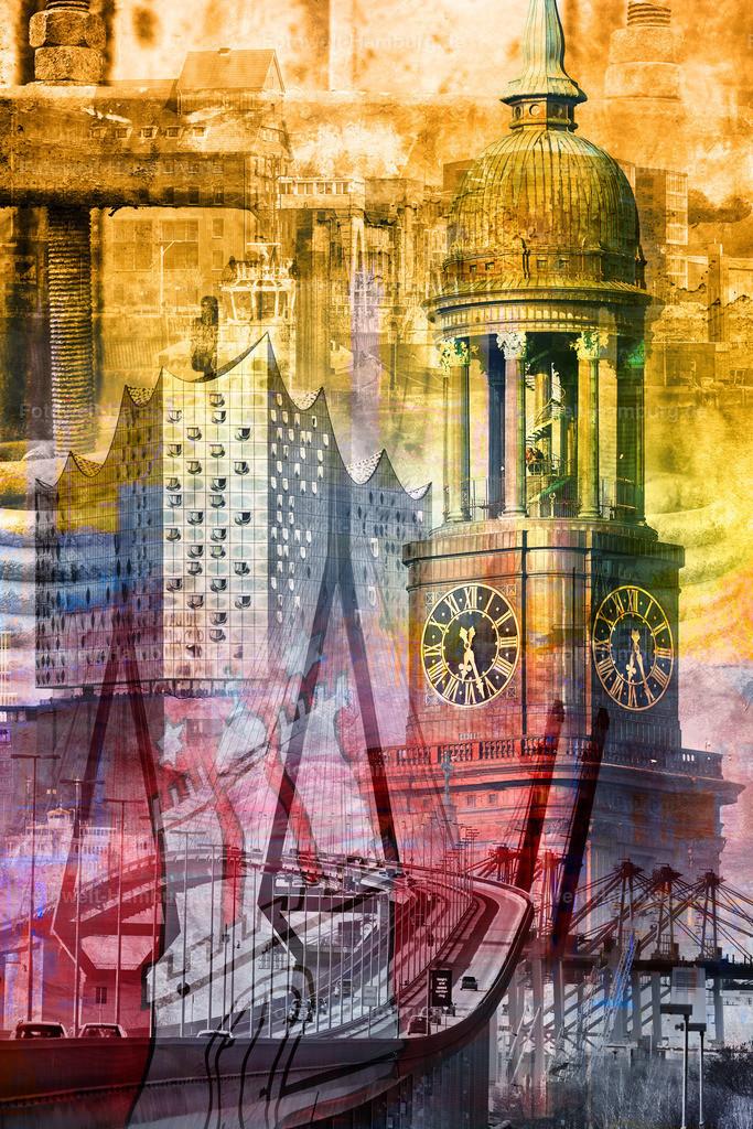 10190519 - Hamburg Collage 018 Variante | Modernes Hamburg Wandbild, in dieser Variante ohne