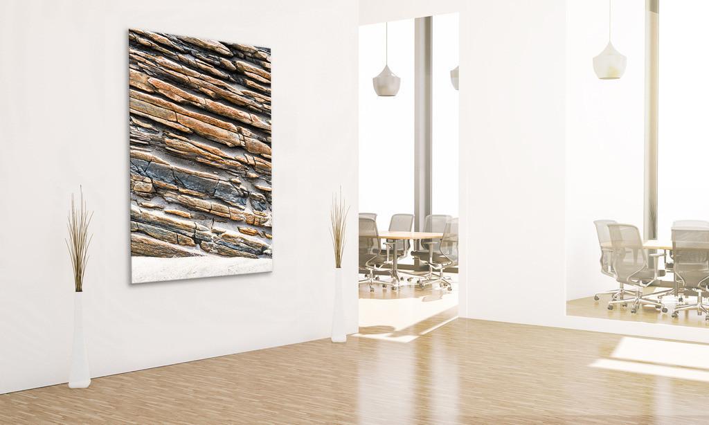 Eingangsbereich mit Steinmotiv | Anwendungsbeispiel für eine Wandgestaltung für den Eingangsbereich in Ihrem Unternehmen. Sie finden das Motiv in der Galerie Nimm drei - Steingeschichten. - Stein IV