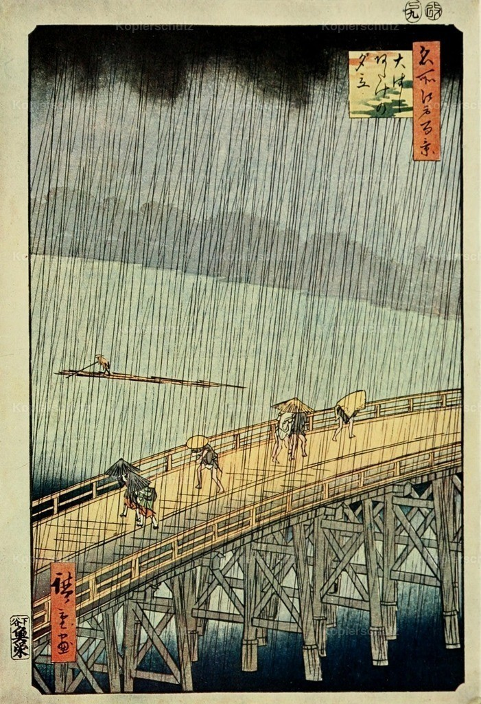 Hiroshige_ Ichiryusai (1797-1858) - Epochs of Chinese _ Japanese Art 1912 - Bridge in Rain