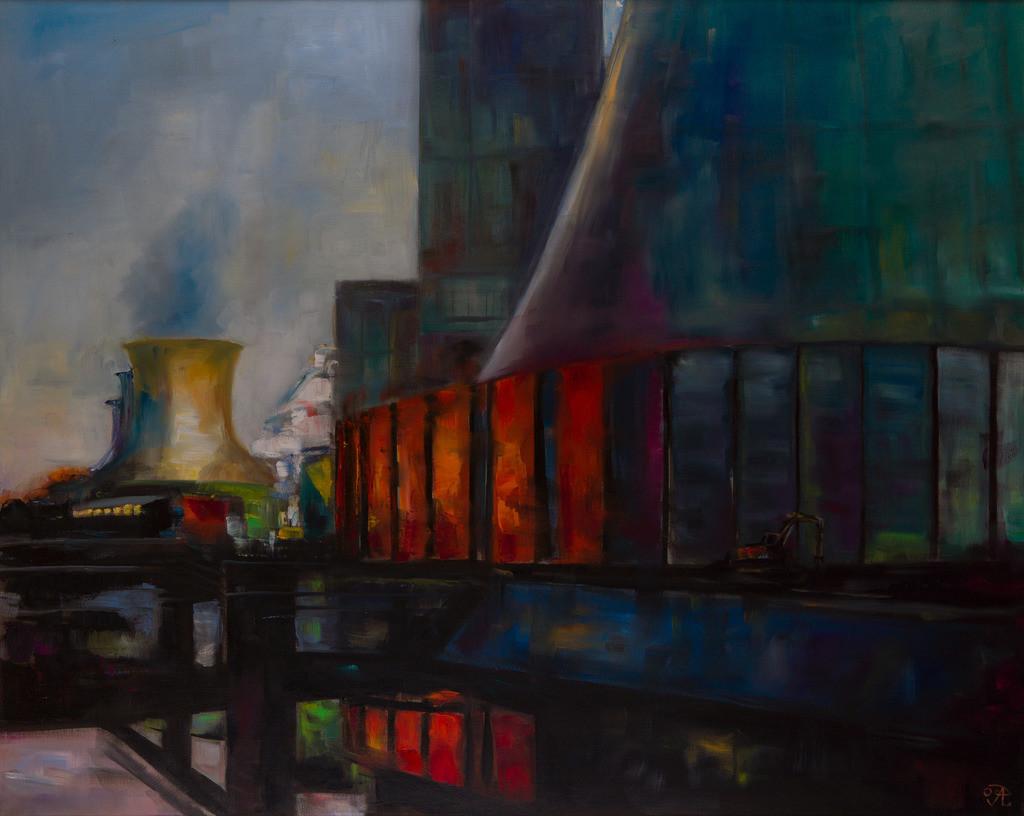 Kraftwerk mit Schornstein | Originalformat: 80x100cm  -   Produktionsjahr: 2009