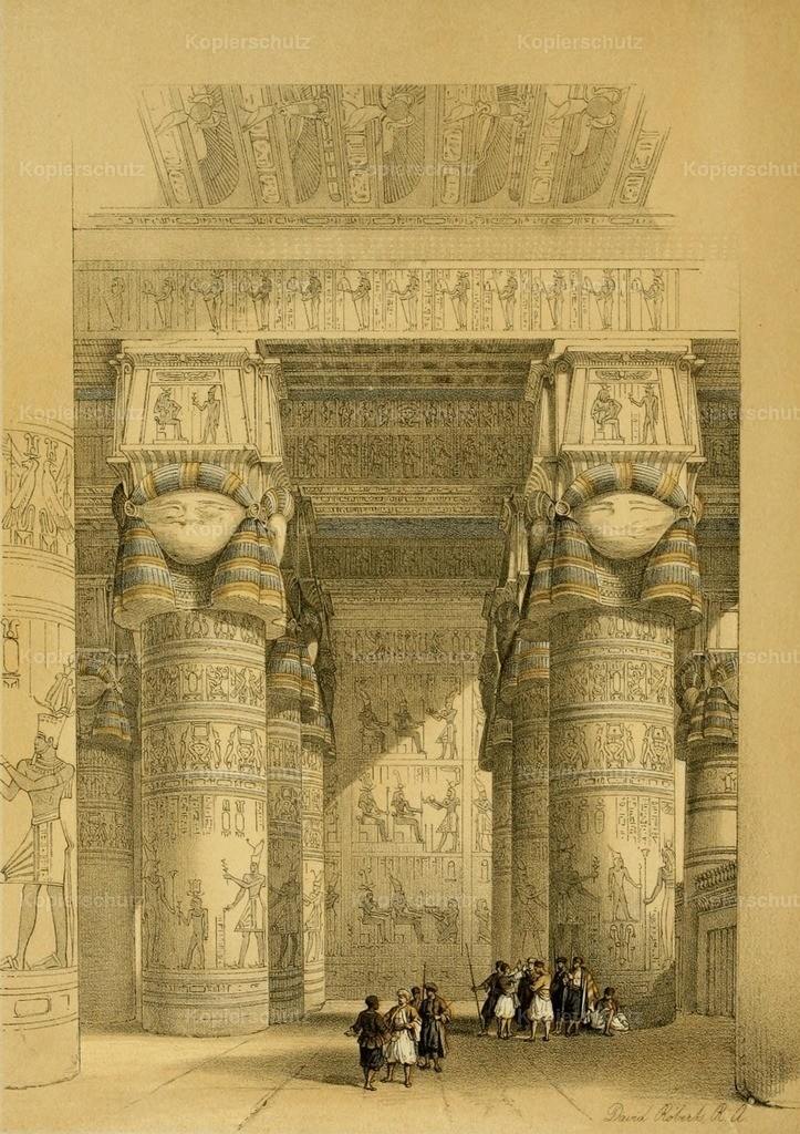 Roberts_ D. (1796-1864) - Holy Land 1855 - View from under portico of Temple of Dendera