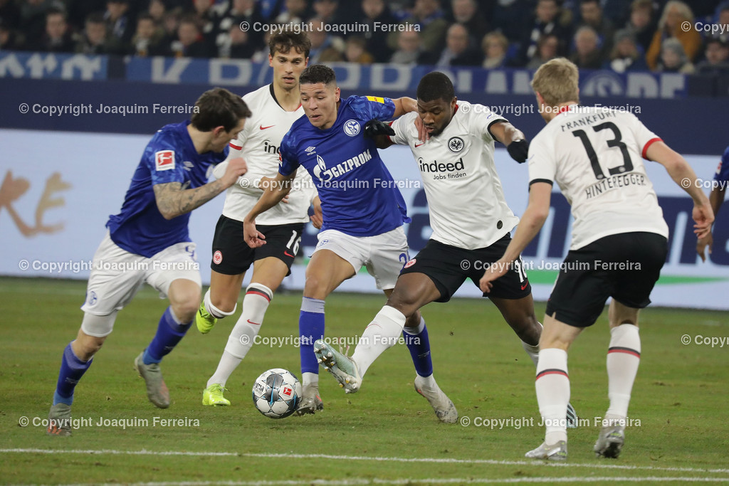 191215_schvssge_0053 | 15.12.2019 Fussball 1.Bundesliga, FC Schalke 04 - Eintracht Frankfurt  emspor  v.l.,  Lucas Torro  (Eintracht Frankfurt), Amine Harit (FC Schalke 04), Almamy Toure (Eintracht Frankfurt), Martin Hinteregger  (Eintracht Frankfurt), Zweikampf, Action, Aktion, Battles for the Ball    (DFL/DFB REGULATIONS PROHIBIT ANY USE OF PHOTOGRAPHS as IMAGE SEQUENCES and/or QUASI-VIDEO)
