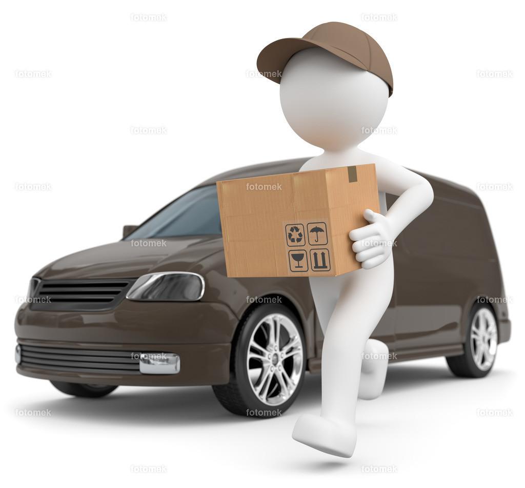 weisses 3d Männchen Paketversand mit Transportwagen   3d Männchen stellt mit braunem Transporter Pakete zu .