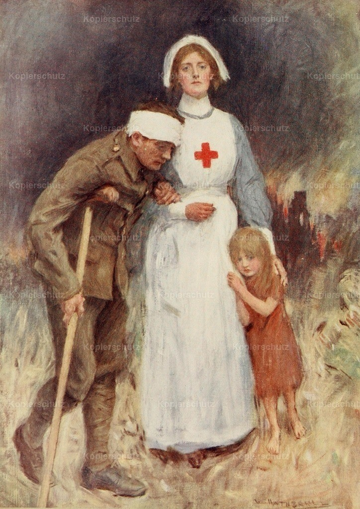 Hatherell_ William (1855-1928) - The Queen_s Gift Book 1918 - Wounded soldier _ nurse