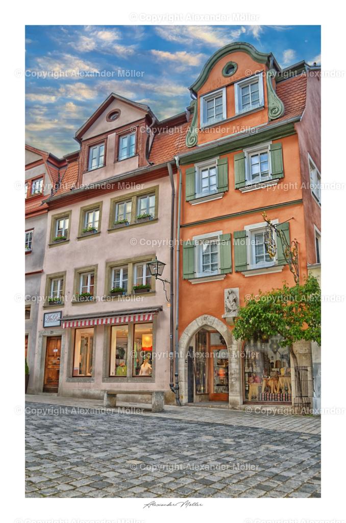 Rothenburg ob der Tauber No.9 | Dieses Werk zeigt die handwerklichen Geschäfte in der unteren Schmiedgasse, ob Mode, Hüte, Holzkunst oder ander Handgemachten Werke werden in dieser Gasse hergestellt.