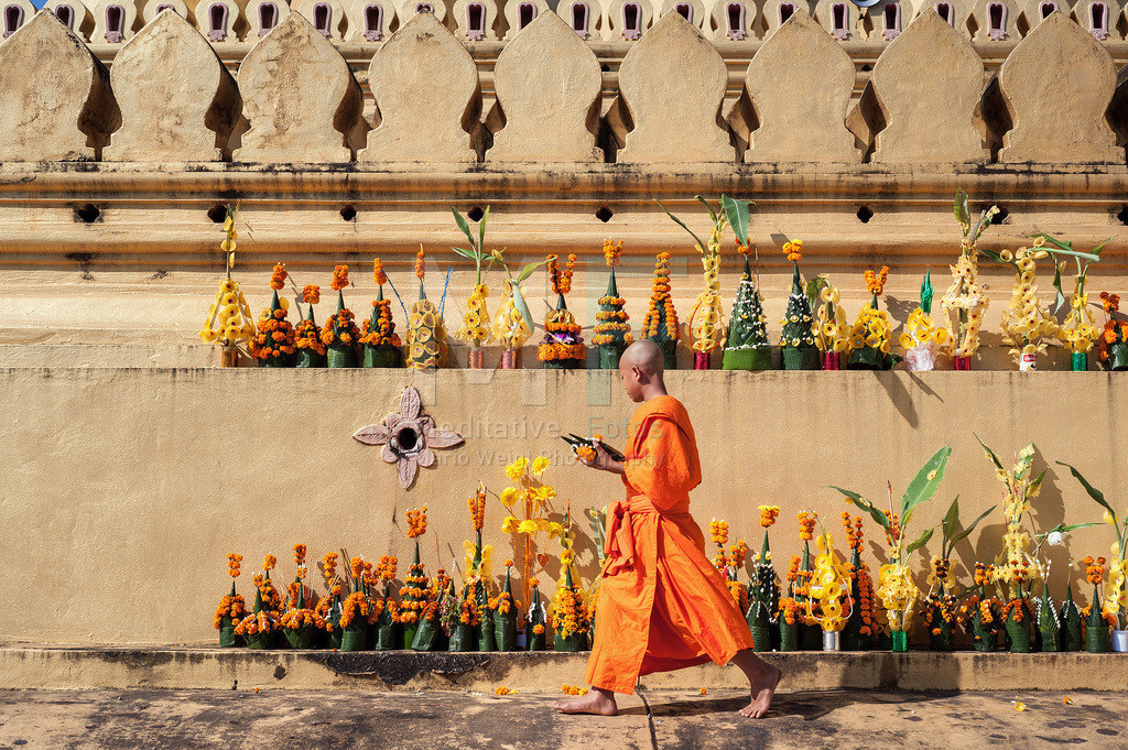 Wat That Luang | Moench im Wat That Luang in Vientiane