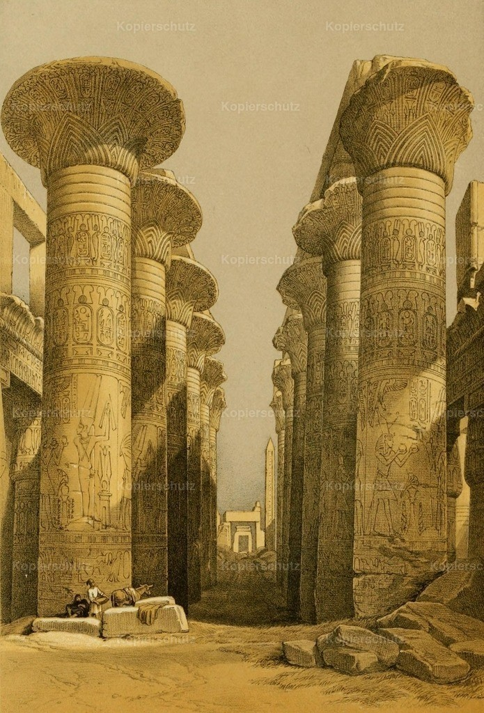 Roberts_ D. (1796-1864) - Holy Land 1855 - Central avenue of the Great Hall of Columns_ Karnac