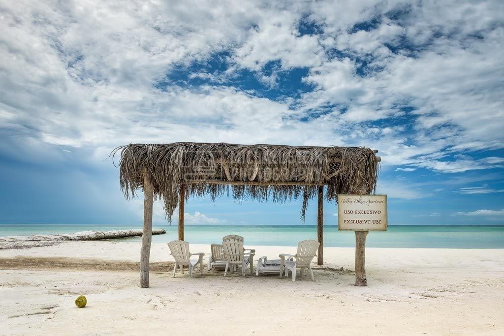 Mexiko - Unterstand am Strand | Karibik - Sonnenunterstand am Strand