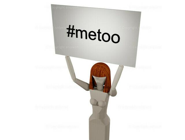 Frau mit Schild metoo (3D-Rendering) | Frau hält ein Schild mit der Überschrift #metoo in die Höhe