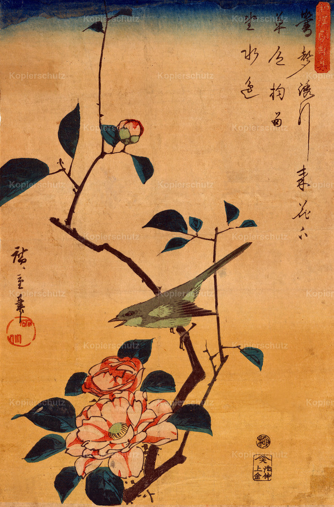 Camellia-and-bush-warbler-1844 by Hiroshige - Large Format