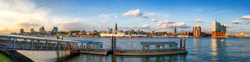 10200906 - Hamburg Elbpanorama | Panoramablick über die Elbe von St. Pauli über den Michel bis zur Elbphilharmonie und Hafencity.