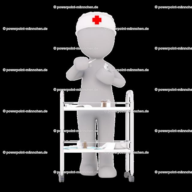 the nurse with the car on which the medicine is for the patients  | Quelle: https://3dman.eu   Jetzt 250 Bilder kostenlos sichern