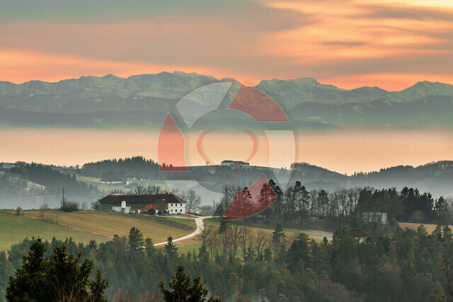 Alpenblick | Blick in die Alpen von der Brandtnerhöhe in Bad Zell am abend