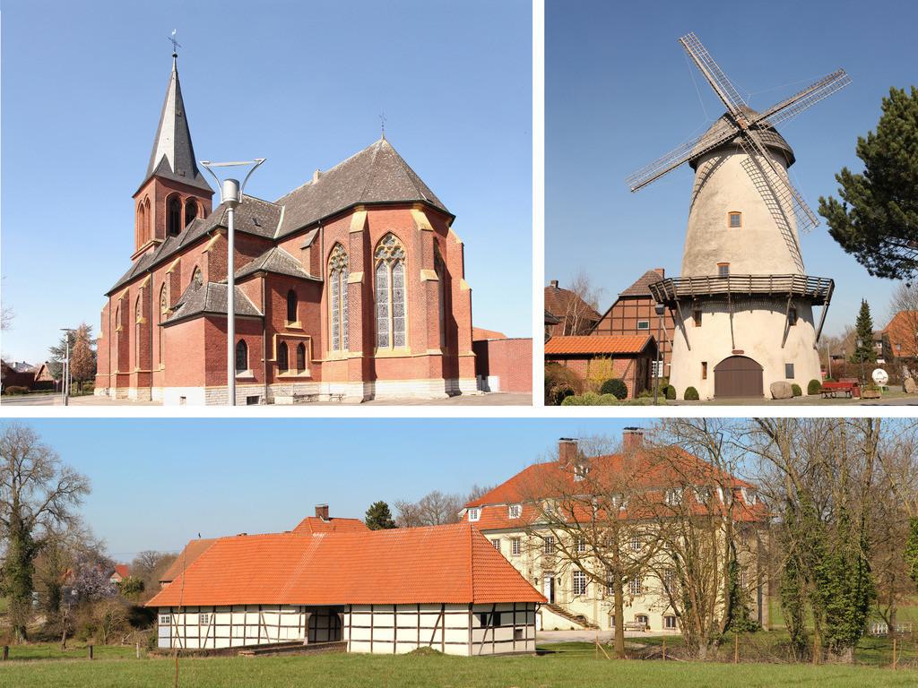 Golddorf Westkirchen Ennigerloh | Ennigerloh Westkirchen im Münsterland hat vor allem drei Wahrzeichen: Die Kirche, die Mühle Westkirchen und das Schloss.
