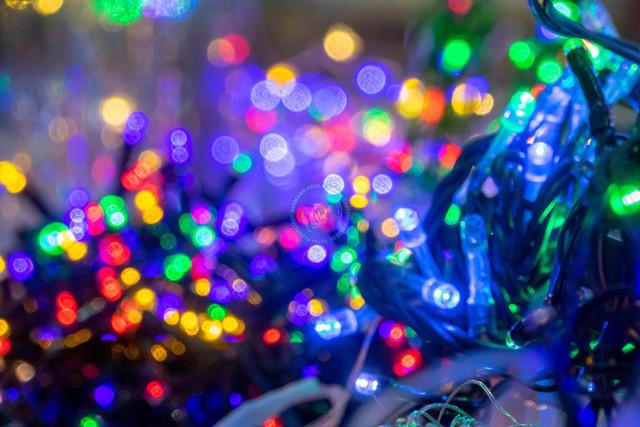 Bunte LED Lichterketten | ESP, Spanien, Barcelona, 17.12.2018, Bunte LED Lichterketten [2018 Jahr Christoph Hermann]