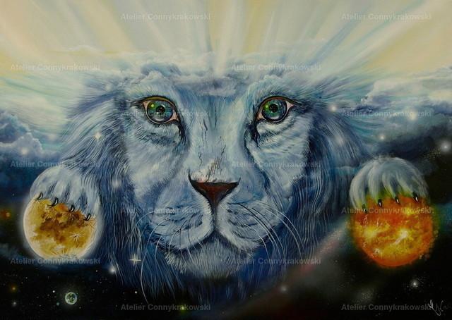 Löwe im All-2 | Phantastischer Realismus aus dem Atelier Conny Krakowski. Verkäuflich als Poster, Leinwanddruck und vieles mehr.