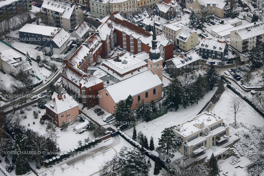 KT10011157 | Schnee,  Kettwig, Essen, Ruhrgebiet, Nordrhein-Westfalen, Deutschland, Europa, Foto: Luftbild Hans Blossey, Copyright: hans@blossey.eu, 06.01.2010, E 006° 56' 30.53