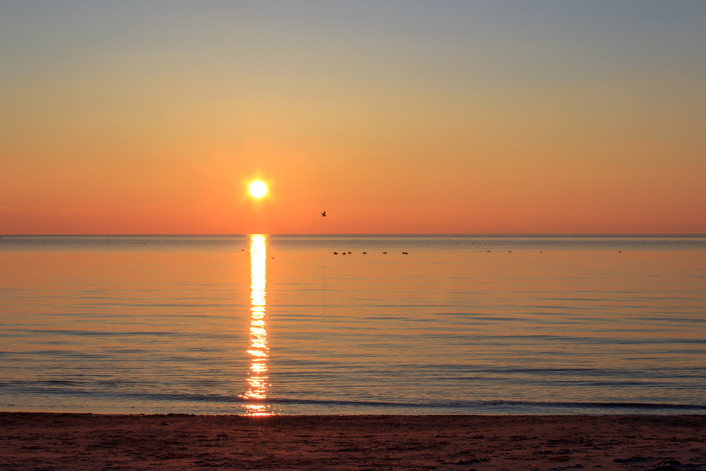 Sonnenaufgang an der Ostsee   Sonnenaufgang in Damp im Winter