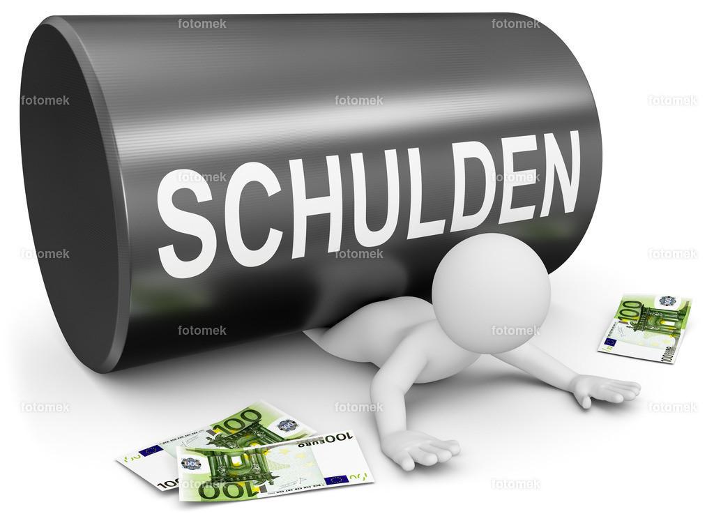 3d Männchen Schuldenwalze Geldsorgen